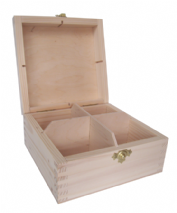Pine Wood 4 Compartment Tea Box With Clasp